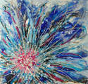 Mixed Media Floral Abstract Painting on Canvas Original Textured Art Blue Pink Silver