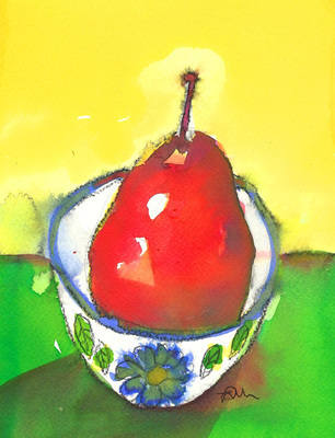 Red Pear Colourful Modern Still Life Fine Art Print