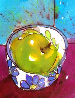 Green Apple Colourful Modern Still Life Fine Art Print