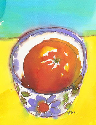 Orange in Floral Bowl Colourful Modern Still Life Fine Art Print