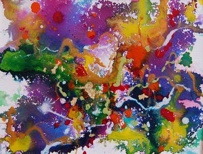 Original Abstract Painting Mixed Media on Paper