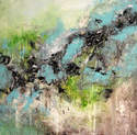 SOLD - Large Abstract Painting Original Art on Canvas Textured Blue Green Grey Black
