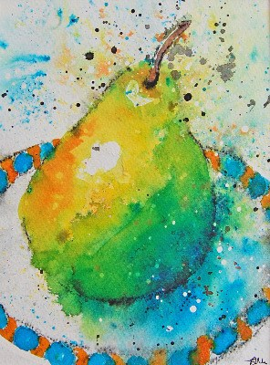 SOLD - Original Watercolour Ink Painting Still life Fruit Vibrant Mounted 1
