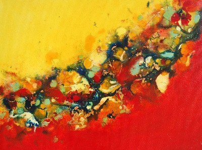 Flow Series 52 Original Abstract Painting on Canvas Red Gold Modern Contemp