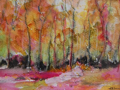 'Autumn in Shipley Park' Original Watercolour Landscape Painting Mounted 10