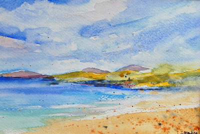 SOLD 'Isle of Harris I' Original Watercolour Landscape Painting Mounted 10