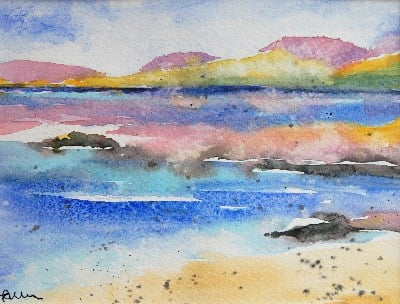 SOLD 'Isle of Harris II' Original Watercolour Landscape Painting Mounted 10