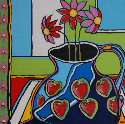 Strawberry Jug with Flowers - Original Still Life Painting