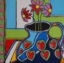 Strawberry Jug with Flowers - Original Still Life Painting