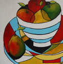 Blue and White Striped Bowl - Original Still Life Art Painting