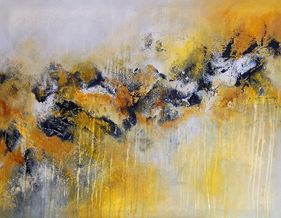 'Strata 15' Original Abstract Painting Large Contemporary Art Canvas Yello