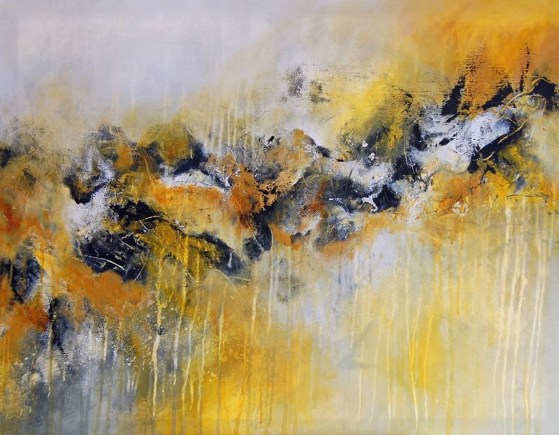 Yellow Abstract Painting Large Contemporary Artwork