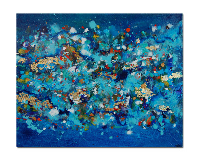 Flow Series 44 - Contemporary Abstract Original Canvas Painting Blue