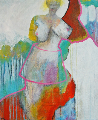 'I Hear Them' - Original Abstract Figurative Nude Painting