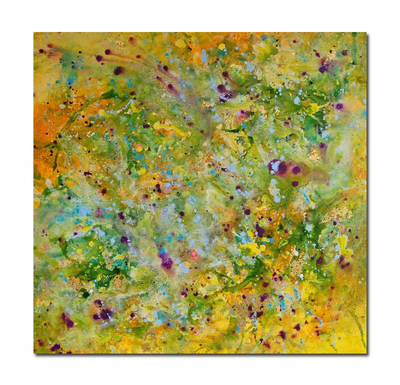 Yellow and Green Abstract Painting Original Art on Canvas