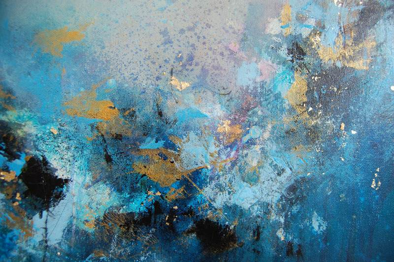 Original abstract painting blue abstract painting modern for Blue paintings on canvas