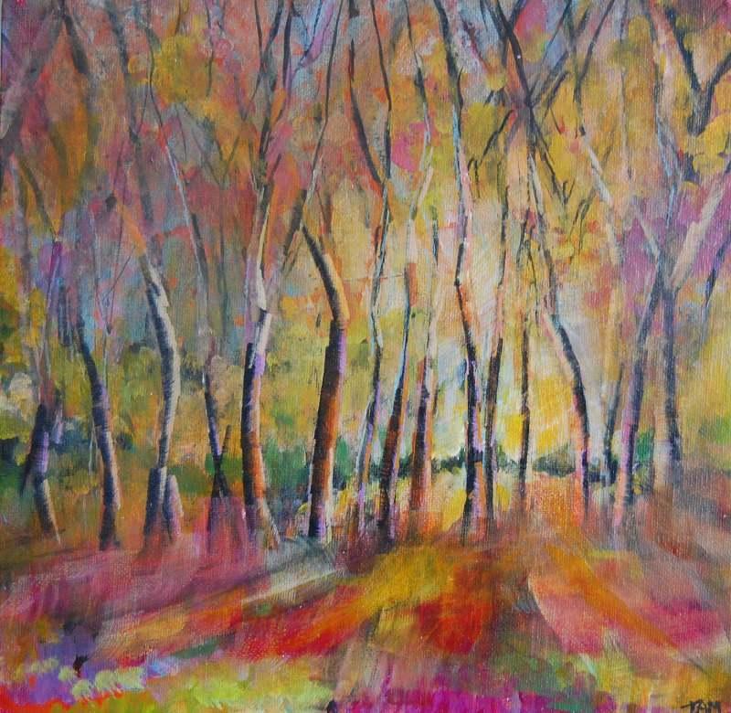 impressionist woodland painting original art