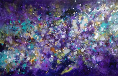 'Cosmic Voyage 11' - Abstract Painting Original Canvas Artwork Purple