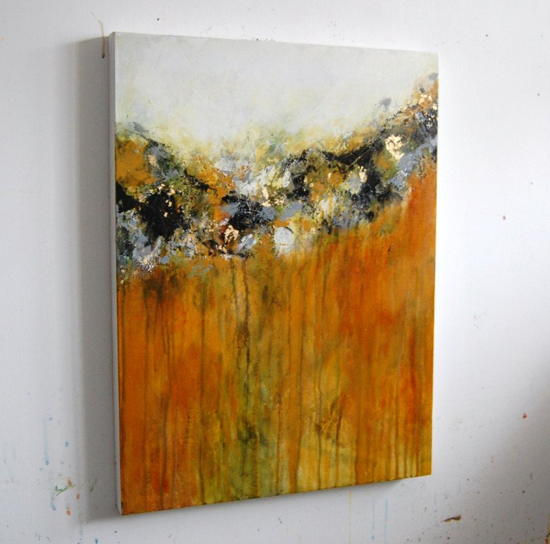 Yellow and black abstract painting original contemporary for Textured acrylic abstract paintings