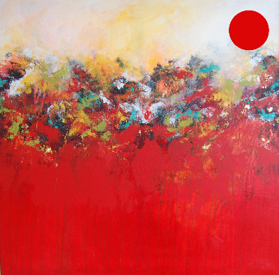 Strata 25 Original Red Abstract Painting - SOLD