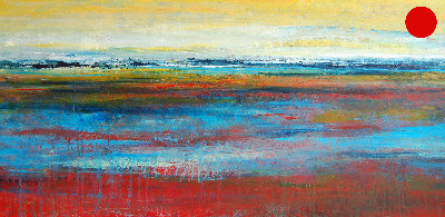 Abstract Landscape Painting Original Art Canvas Large Red Yellow Blue Green