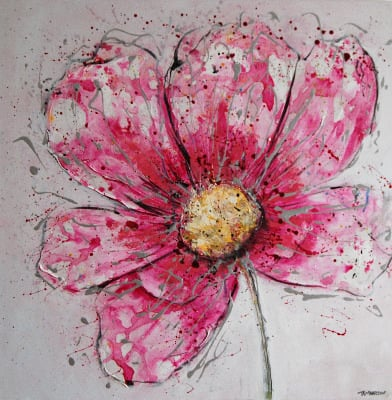 Pink Cosmos - Contemporary Abstract Floral Painting