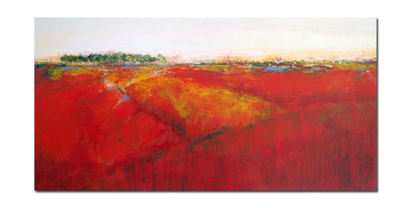 Large Semi Abstract Landscape Painting Red Yellow Orange