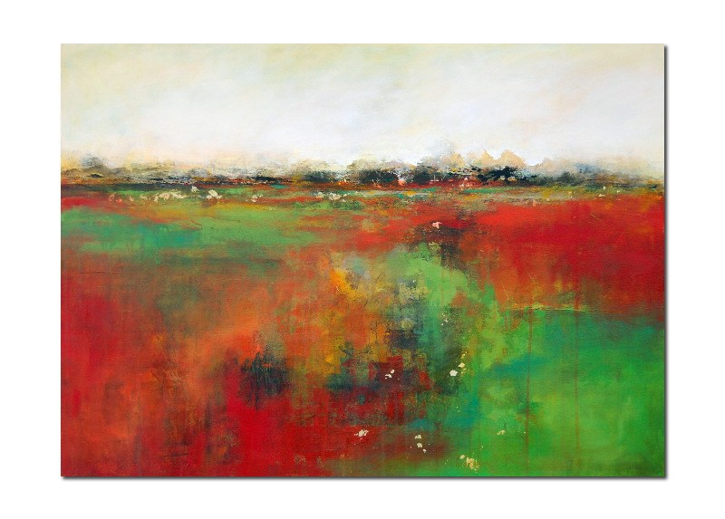 large green and red abstract landscape painting