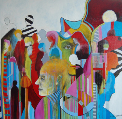 Moving Between Worlds - Large Original Figurative Abstract Painting