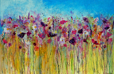 Flower Meadow - Large Original Contemporary Mixed Media Painting on Canvas