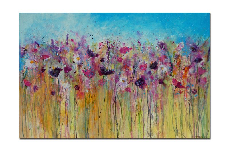Large abstract floral meadow painting on canvas