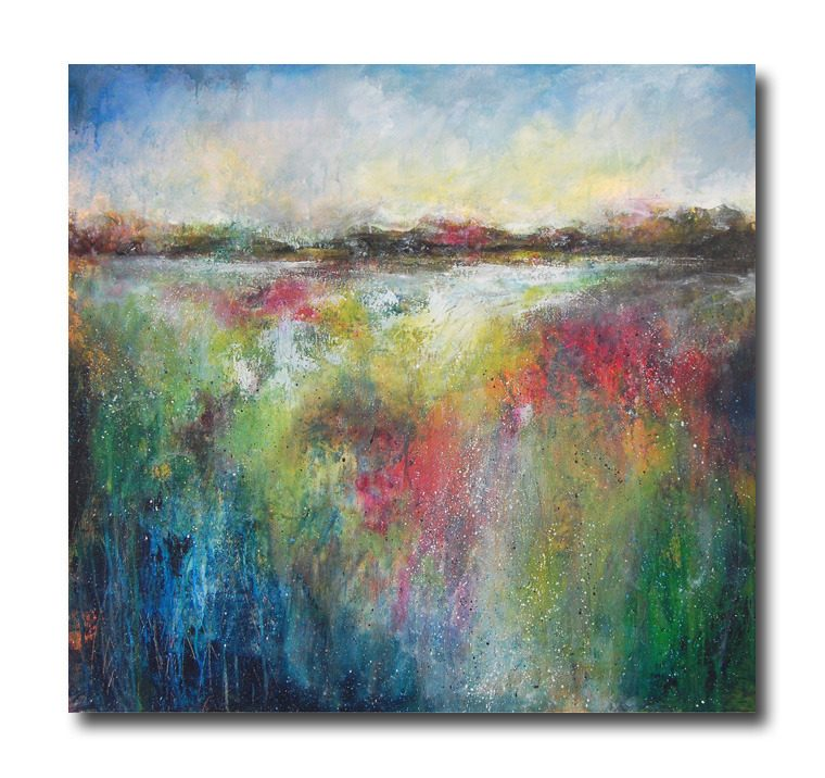 Very large semi abstract original landscape painting on canvas