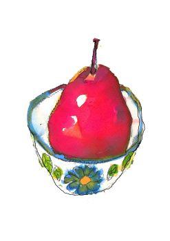 A4 Pear Art Print Colourful Modern Still Life Fine Art Fruit Print