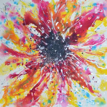 Bloom - Original Abstract Expressionist Floral Painting on Canvas