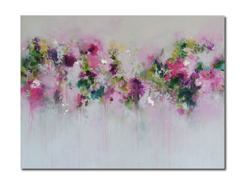 Large Original Abstract Painting on Canvas Pink Green Purple