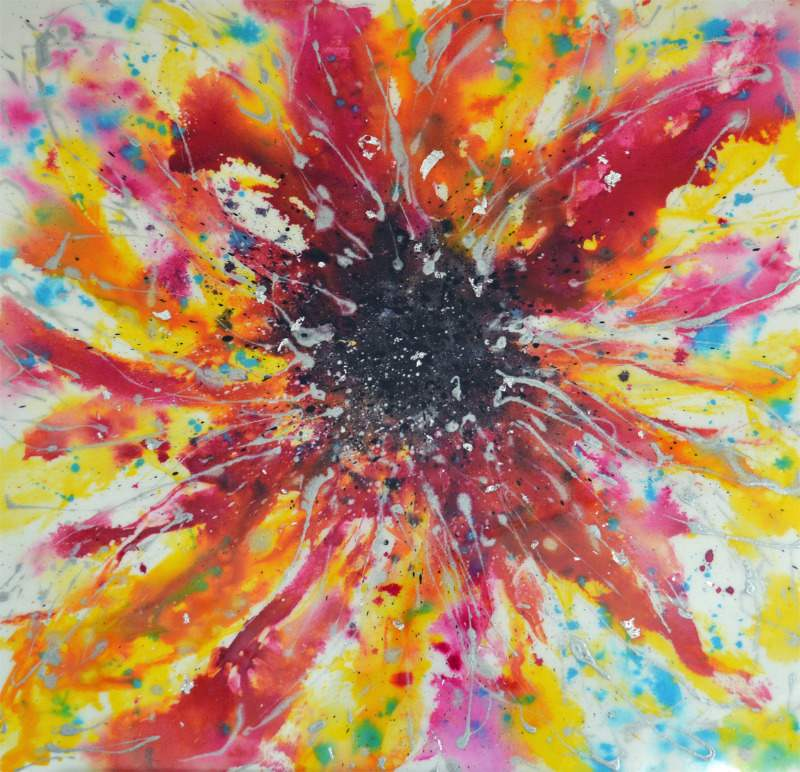 large expressive floral painting for sale