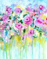 Floral Art Print 8x10 or A4 Colourful Meadow Fine Art Print