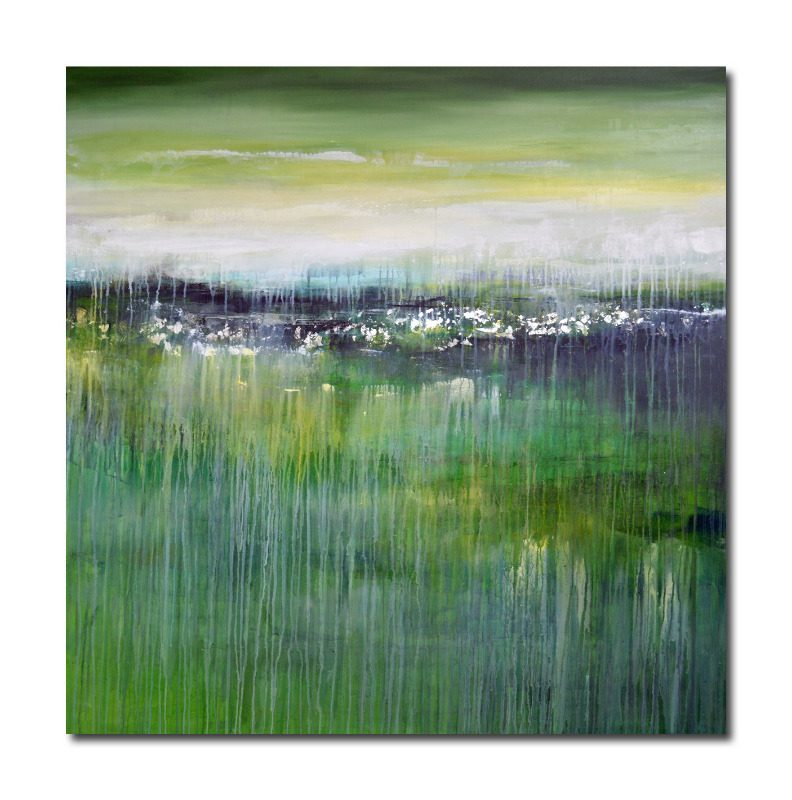 Large green abstract landscape painting