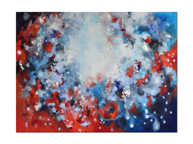 Large abstract painting in red and blue