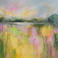 Yellow Field - Abstract Landscape 29 - Large Original Abstract Impressionist Landscape Painting on Canvas