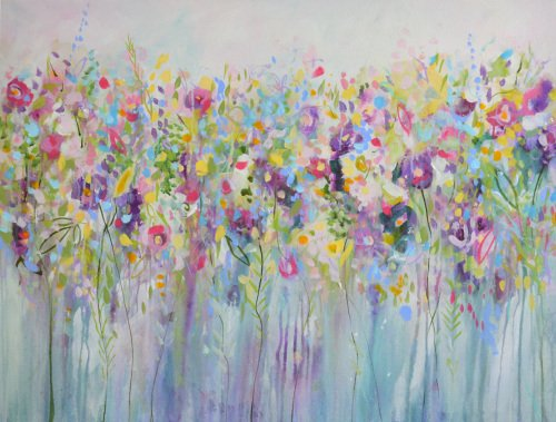 Floral Meadow II - Large Original Abstract Expressionist Painting on Canvas