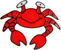 331 - Happy Crab handmade peelable window cling decoration