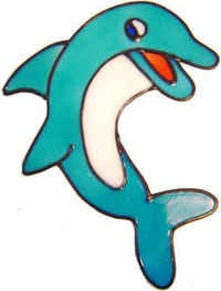 442 - Happy Dolphin handmade peelable window cling decoration