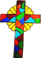 69 - Cross - Handmade peelable static window cling decoration