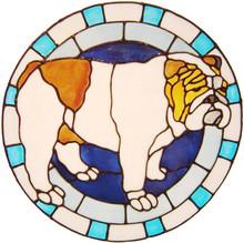 579 - Bulldog Circle - Handmade peelable static window cling decoration