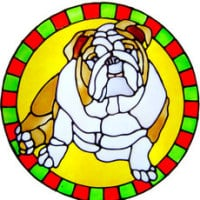 574 - Bulldog Circle - Handmade peelable static window cling decoration