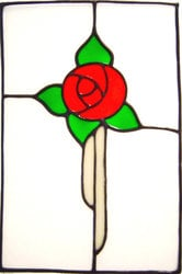 580 - Simple Rose Panel - Handmade peelable static window cling decoration