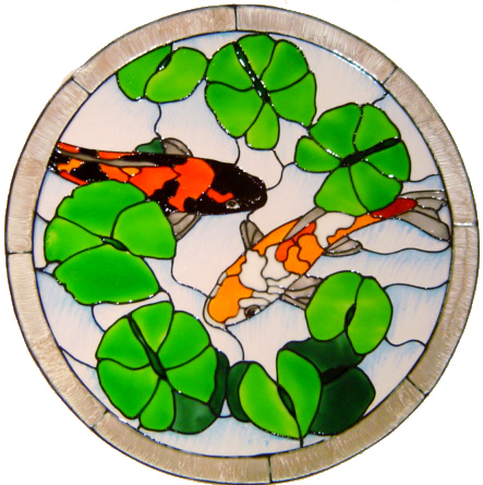 1131 - Koi Pond Frame Handmade Peelable window cling