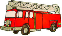 589 - Fire Engine - Handmade peelable static window cling decoration