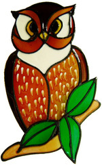 581 - Small Owl - Handmade peelable static window cling decoration